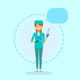 Van de de Geneeskundearbeider van medische Artsenclinics hospital female Online het Overlegconcept royalty-vrije illustratie
