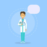 Van de de Geneeskundearbeider van medische Artsenclinics hospital male Online het Overlegconcept vector illustratie