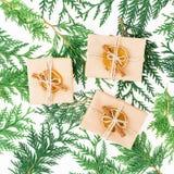 Van de giftdoos en winter installaties op witte achtergrond Kerstmistak en klokken Vlak leg Hoogste mening Stock Foto