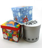 Van de giftdozen van Kerstmis het blauw, het rood en het wit Stock Foto