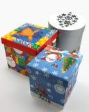 Van de giftdozen van Kerstmis het blauw, het rood en het wit Stock Foto's