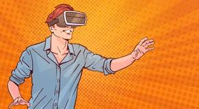 Van de de Glazen Virtuele Werkelijkheid van de mensenslijtage het Moderne 3d Concept Pop Art Style Background vector illustratie