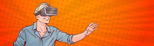 Van de de Glazen Virtuele Werkelijkheid van de mensenslijtage het Moderne 3d Concept Pop Art Style Background Horizontal Banner Stock Afbeeldingen