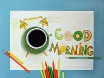 Van de goedemorgenkoffie en wekker concept Kop van koffie met hand getrokken wekker Stock Afbeelding