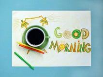 Van de goedemorgenkoffie en wekker concept Kop van koffie met hand getrokken wekker Royalty-vrije Stock Afbeeldingen