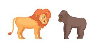 Van de gorillaaap en leeuw savannedieren in beeldverhaalstijl royalty-vrije illustratie