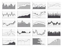 Van de grafiek of de van de bedrijfs voorraadanalyse financiële grafieken gegevens op witte achtergrond royalty-vrije illustratie