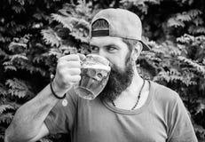 Van de de greepmok van de Hipster het brutale gebaarde mens koude verse bier Alcoholdrank en bar Het ambachtbier is jong, stedeli stock foto's