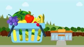 Van de groente organische ecoshop van het landbouwfruit vlakke de winkelmarkt Stock Afbeelding