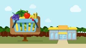 Van de groente organische ecoshop van het landbouwfruit vlakke de winkelmarkt Stock Foto's