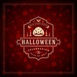 Van de de Groetkaart van Halloween Typografische het Ontwerp Vectorachtergrond Stock Foto's