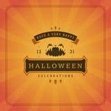Van de de groetkaart van Halloween typografische het ontwerpvector Royalty-vrije Stock Fotografie
