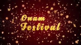 Van de de groetkaart van het Onamfestival de tekst glanzende deeltjes voor viering, festival royalty-vrije illustratie