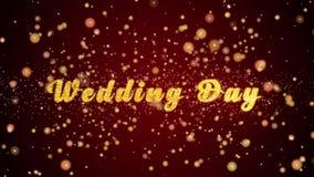 Van de de Groetkaart van de huwelijksdag de tekst glanzende deeltjes voor viering, festival royalty-vrije illustratie