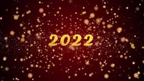 van de de groetkaart van 2022 de tekst glanzende deeltjes voor viering, festival stock illustratie