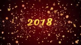 van de de groetkaart van 2018 de tekst glanzende deeltjes voor viering, festival stock illustratie