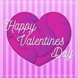 Van de de groetkaart van de valentijnskaartendag de roze kleur met gelukwens op achtergrond met harten voor affiche Stock Afbeeldingen