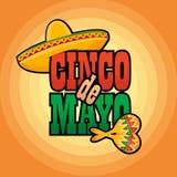 Van de de groettekst van Cinco de Mayo de van letters voorziende vectorillustratie