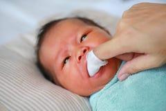 Van de de hand de de schone baby van de close-upmoeder tong en gom met het schone gaas stock afbeelding