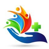 Van de de handzorg van de bol medisch gezondheid van het de mensen gezond leven dwars van het de zorgembleem het ontwerppictogram stock illustratie