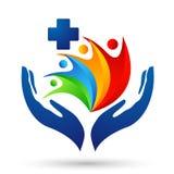 Van de de handzorg van de bol medisch gezondheid van het de mensen gezond leven dwars van het de zorgembleem het ontwerppictogram vector illustratie
