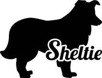 Van de Herdershondsheltie van Shetland het silhouet echt woord royalty-vrije illustratie
