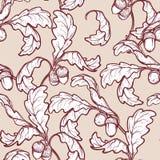 Van de herfst eiken bladeren en eikels naadloos patroon Stock Afbeeldingen