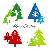 Van de de hertensneeuwvlok van boom Vrolijke Kerstmis het Pictogramvector Stock Foto