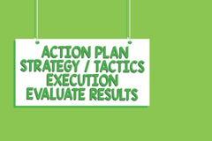 Van de het Actieplanstrategie van de handschrifttekst de de Tactiekuitvoering evalueert Resultaten Concept die de Hangende raad v royalty-vrije stock afbeelding