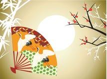 Van de het Bamboeventilator van Japan Etnische het Elementen Vectorillustratie Stock Fotografie