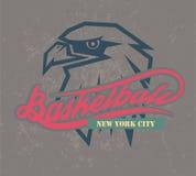 Van de het basketbalembleem en t-shirt van New York grafiek, Royalty-vrije Stock Afbeelding