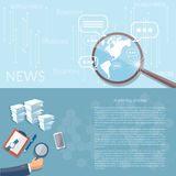 Van de het bedrijfs concepten op de markt brengende strategie van nieuwsfinanciën analist Royalty-vrije Stock Afbeelding