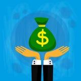 Van de het Bedrijfs geldzak van zakenmanhand hold green Mens Royalty-vrije Stock Afbeeldingen
