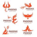 Van de het bedrijfslogan van Phoenix de vlakke reeks vector illustratie