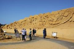 Van de het beeldhouwwerkmuur van het zand het festival 2012 Denemarken Stock Fotografie