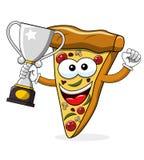 Van de het beeldverhaal grappige kampioen van de pizzaplak geïsoleerde de winnaarkop vector illustratie