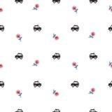 Van de het beeldverhaalcabine van Londen de auto's en de bloemen naadloos patroon Stock Fotografie