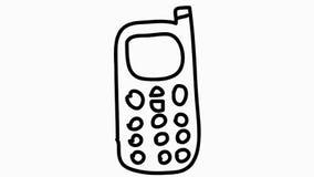 Van de het beeldverhaalillustratie van de celtelefoon de getrokken transparante animatie hand stock video