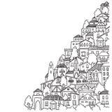 Van de het beeldverhaalkrabbel van de stads de zwart-witte schets vectorillustratie Stock Foto's
