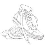 Van de het beeldverhaalkrabbel van de tennisschoenen de zwart-witte schets vectorillustratie Stock Afbeelding