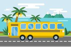 Van de het beeldverhaalstijl van de stadsbus vector het pictogramsilhouet Stock Afbeeldingen