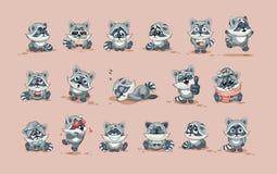 Van de het beeldverhaalwasbeer van het Emojikarakter de welpsticker emoticons met verschillende emoties royalty-vrije illustratie