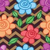 Van de het bladlijn van de bloemslak van de de waterverfchevron het bruine naadloze patroon royalty-vrije illustratie