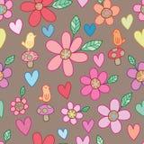 Van de het bladpaddestoel van de vogelbloem bruin de stijl naadloos patroon vector illustratie