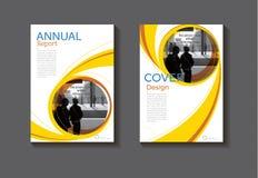 Van de het boekdekking van het cirkel gele ontwerp moderne de dekkings abstracte Brochure Stock Foto