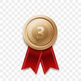 van de het bronsmedaille van de 3 plaatswinnaar vector de toekenningslint stock illustratie