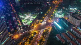 Van de het centrumbouw van nachtshanghai van het het dak hoogste panorama de tijdtijdspanne China 4k stock footage
