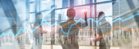 Van de het conceptengrafiek van de bedrijfs Financi?le Handelinvestering virtuele het scherm dubbele blootstelling stock fotografie