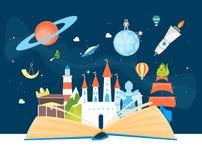 Van de het Conceptenkaart van de beeldverhaalverbeelding de Affiche Open Boek Vector stock illustratie