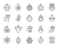 Van de het Decor eenvoudige zwarte lijn van de Kerstmisboom de pictogrammen vectorreeks royalty-vrije illustratie